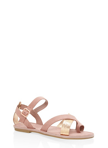 Strappy Toe Ring Sandals,BLUSH,large