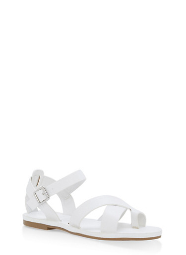 Criss Cross Ankle Strap Sandals,WHITE,large