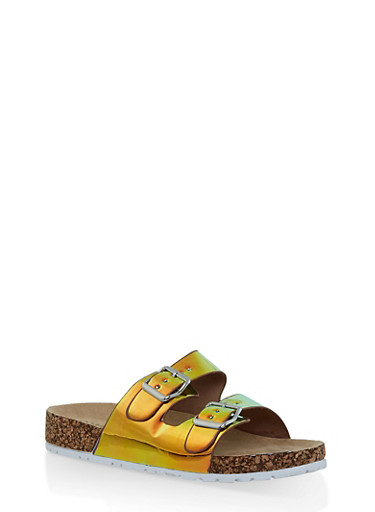 Iridescent Double Buckle Strap Slides,GREEN,large