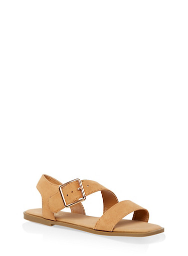 Buckle Strap Asymmetrical Band Sandals,TAN,large