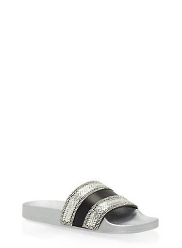 Rhinestone Encrusted Slides,BLACK/SILVER,large
