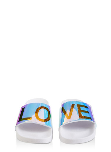 Iridescent Love Band Slides,WHITE,large