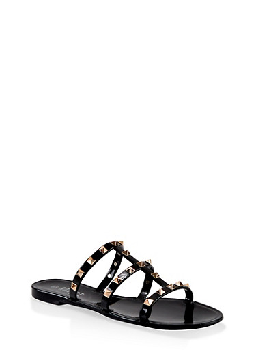Studded Triple Band Slide Sandals,BLACK,large