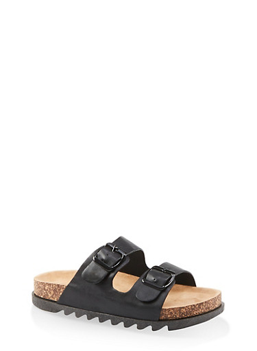 Double Band Footbed Sandals,BLACK,large