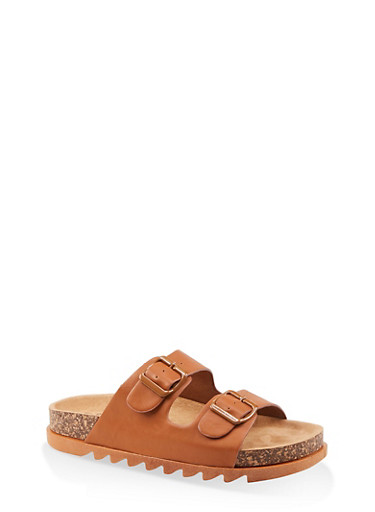 Double Band Footbed Sandals,TAN,large