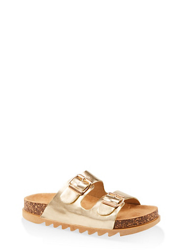Double Band Footbed Sandals,GOLD,large