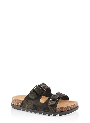 Double Band Footbed Sandals,CAMOUFLAGE,large