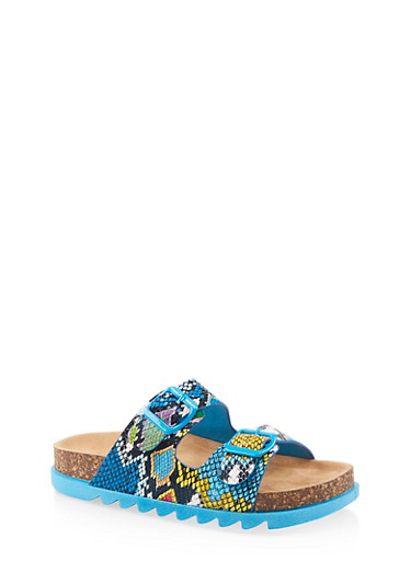Double Band Footbed Sandals,MULTI SKIN,large