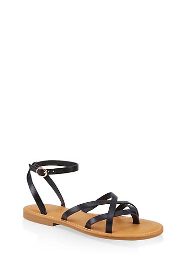 Criss Cross Sandals,BLACK,large