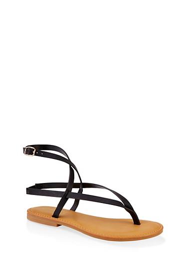 Cross Ankle Strap Slingback Thong Sandals,BLACK,large