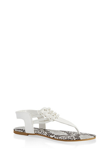Cord Detail Thong Sandals,WHITE,large