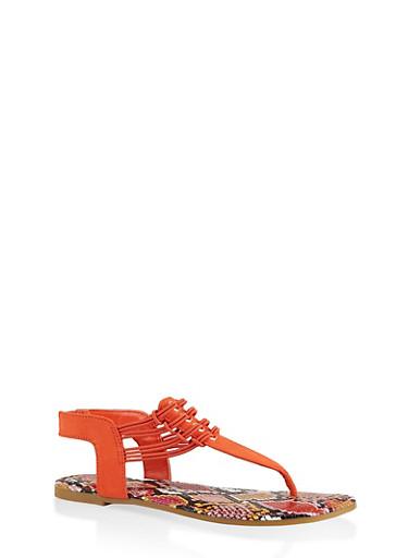 Cord Detail Thong Sandals,ORANGE,large