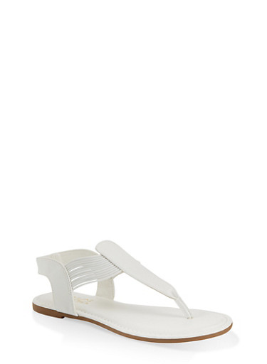 Corded Sling Back Thong Sandals,WHITE,large