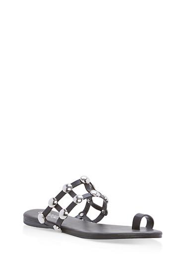 Studded Caged Toe Ring Slide Sandals,BLACK CRP,large