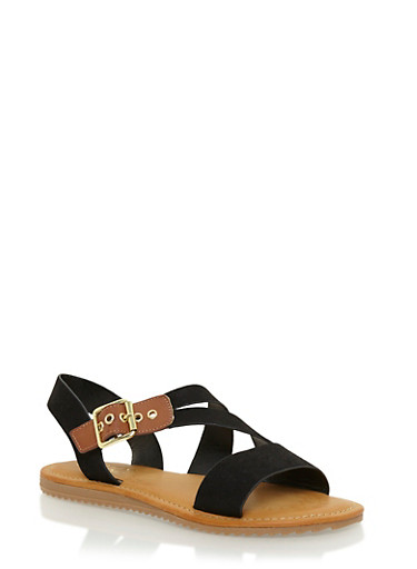 Flat Sandals with Asymmetrical Buckle Strap,BLACK,large
