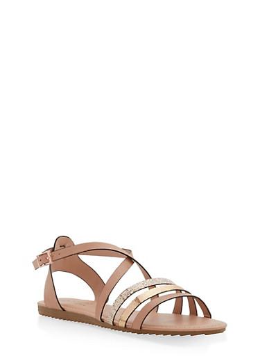 Criss Cross Strap Sandals,BLUSH,large