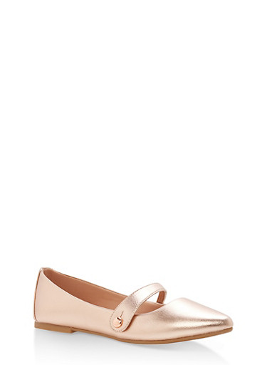 Pointed Toe Ballerina Flats with Strap,ROSE GOLD CRP,large