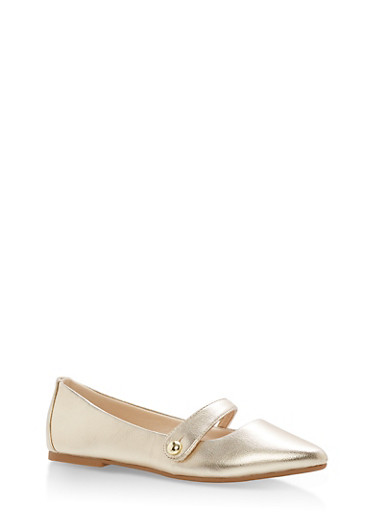 Pointed Toe Ballerina Flats with Strap,GOLD CRP,large
