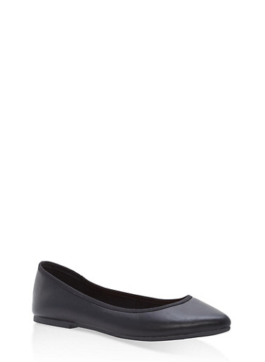 Pointed Toe Skimmer Flats,BLACK,large