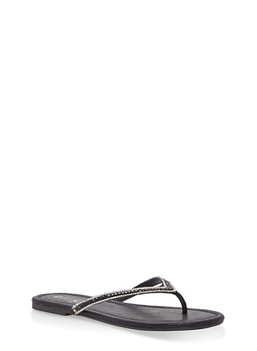 Rhinestone Thong Sandals,BLACK FABRIC,large