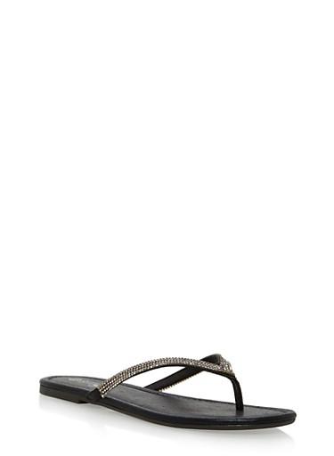 Rhinestone Trim Thong Sandals,BLACK FABRIC,large