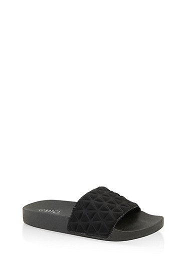 Embossed Pool Slides,BLACK,large