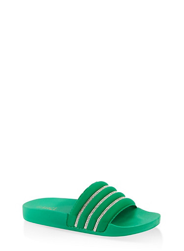Rhinestone Detail Pool Slides,GREEN,large