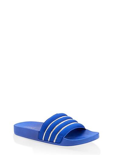 Rhinestone Detail Pool Slides,BLUE,large