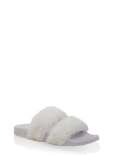 Two Band Faux Fur Slides,WHITE,large