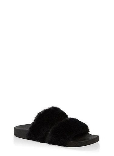 Two Band Faux Fur Slides,BLACK SUEDE,large