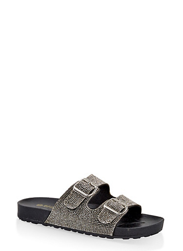 Rhinestone Two Buckle Footbed Sandals,BLACK,large