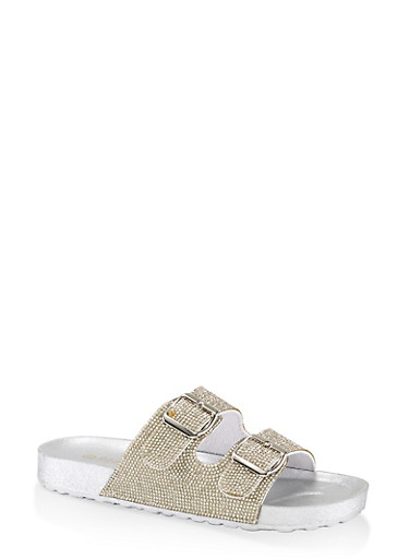 Rhinestone Two Buckle Footbed Sandals,CLEAR,large