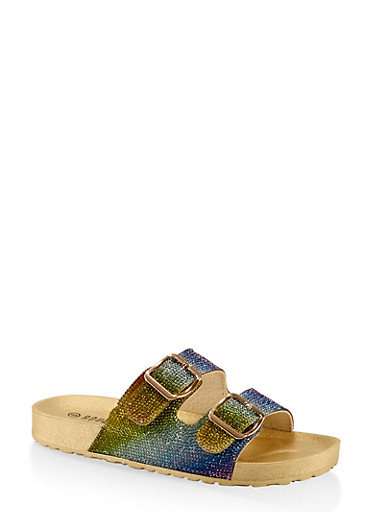 Rhinestone Two Buckle Footbed Sandals,MULTI COLOR,large
