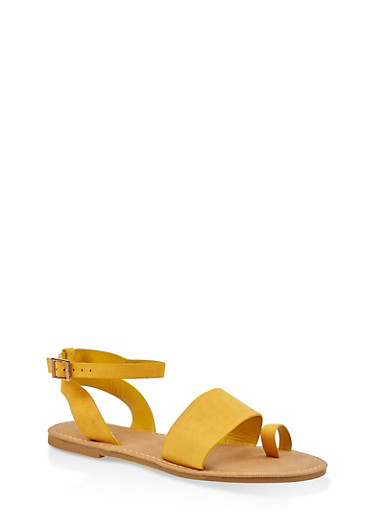 Ankle Strap Toe Ring Sandals,YELLOW,large
