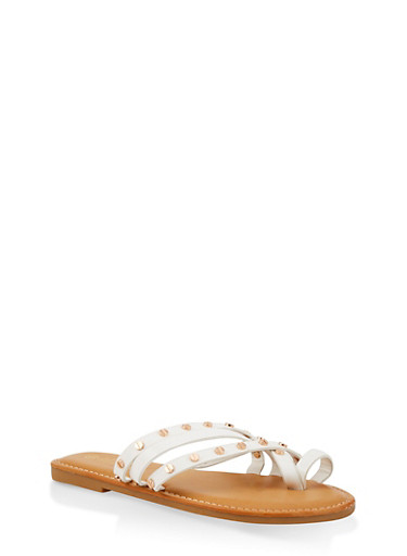 Studded Strappy Sandals,WHITE,large
