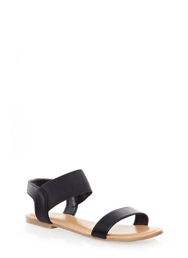 Double Strap Slingback Sandals,BLACK,large
