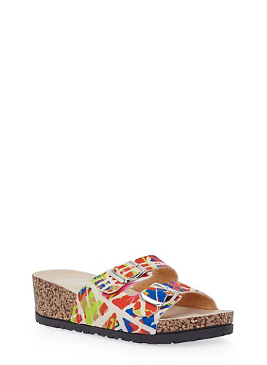 Wedge Sandals with Buckle Cinches,ORANGE,large