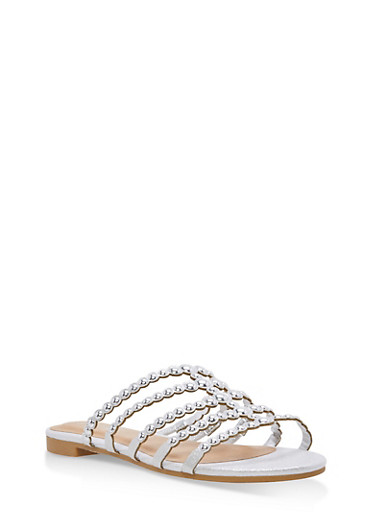 Studded Strap Slide Sandals,SILVER FABRIC,large