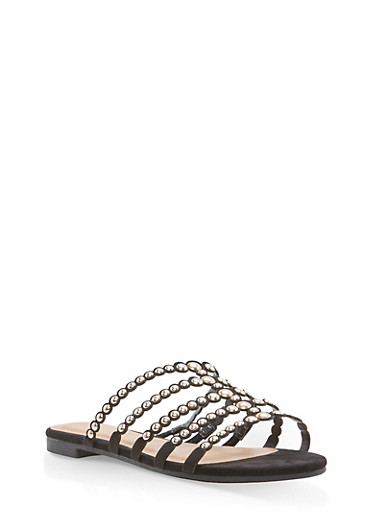 Studded Strap Slide Sandals | Tuggl