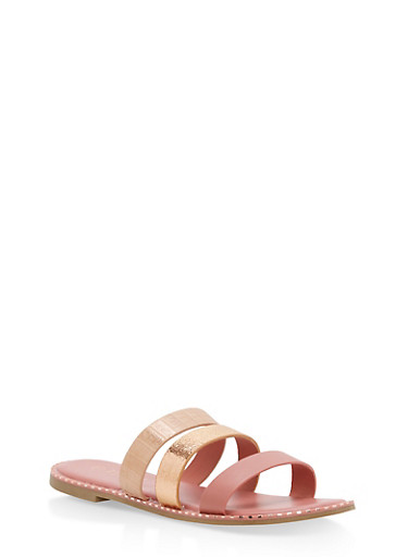 Metallic Textured Slide Sandals,DARK BLUSH MULTI,large