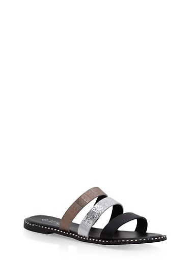 Metallic Textured Slide Sandals | Tuggl