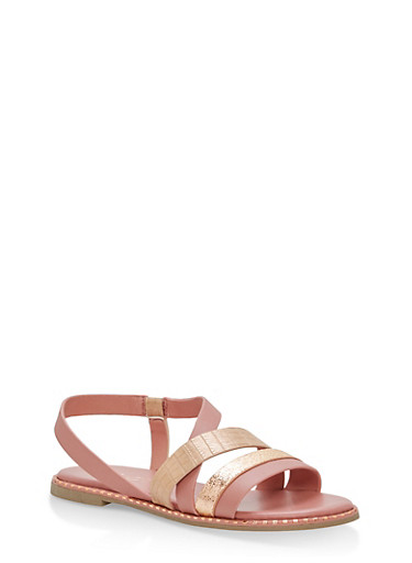 Textured Strap Studded Flat Sandals,BLUSH,large