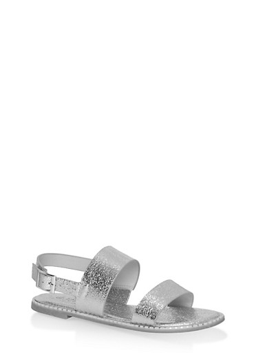 Studded Sole Double Strap Sandals,SILVER CMF,large