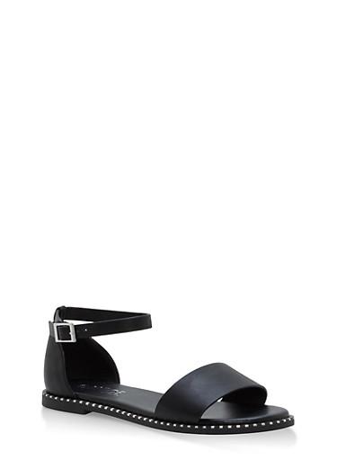 Metallic Trim Ankle Strap Sandals,BLACK BNH,large