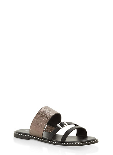 Triple Strap Metallic Detail Slide Sandals,BLACK,large