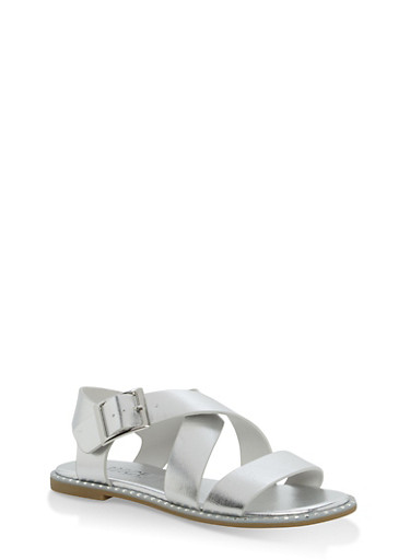 Studded Sole Cross Strap Sandals | Tuggl