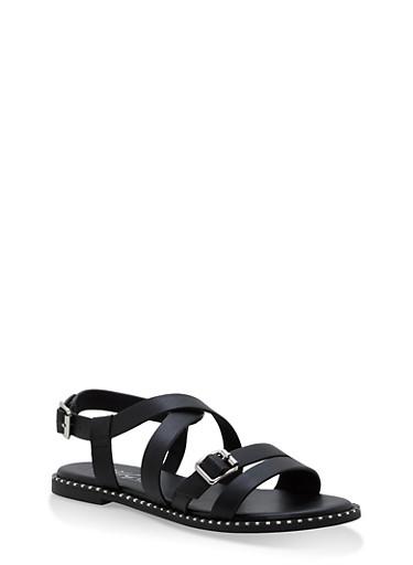Criss Cross Ankle Strap Sandals,BLACK,large