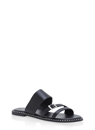 3 Strap Studded Sole Slide Sandals,BLACK,large