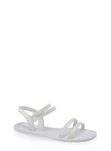 4 Band Slingback Sandals,WHITE,large