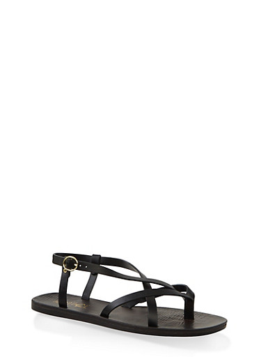 Criss Cross Thong Sandals,BLACK,large